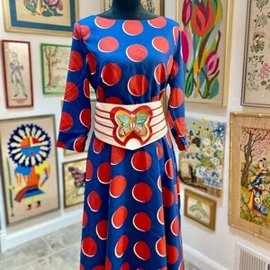 NWOT Tracee Ross Glorious Blue Red Large Dot Dress